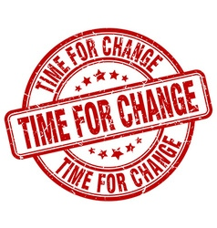 Time for change red grunge round vintage rubber vector