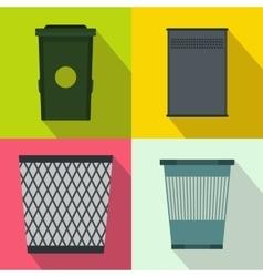 Trash bin garbage banners set flat style vector