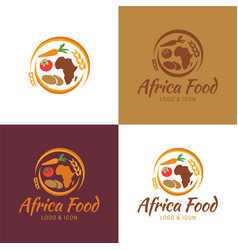 africa food map logo and icon vector image vector image