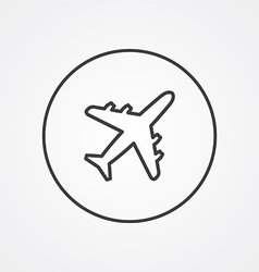 Airplane outline symbol dark on white background vector