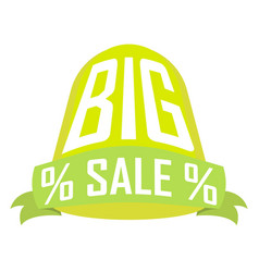 big sale green cylinder over ribbon on a white vector image vector image