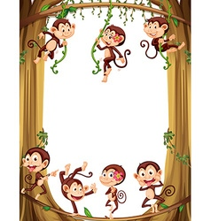 Border design with monkeys climbing the tree vector