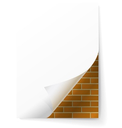Brick wall under a sheet of paper vector
