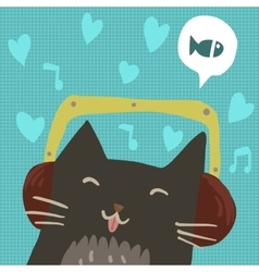 Cartoon cute cat with headphones flat mascot vector image vector image