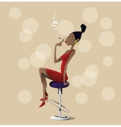 Cartoon lady sitting on a high chair vector image