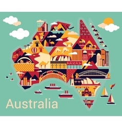 Cartoon map of Australia vector image