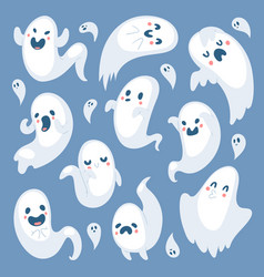 cartoon spooky ghost halloween day celebrate vector image