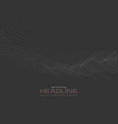 dark grey abstract futuristic wavy dotted lines vector image