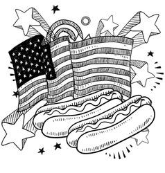 doodle americana hotdog bw vector image
