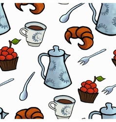 English tea ceremony seamless pattern vector image