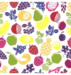 Fruits and berries seamless background vector image vector image