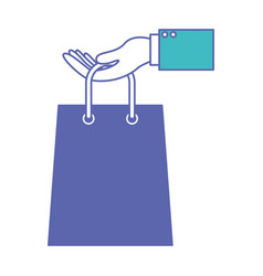 Hand holding a trapezoid shopping bag in blue and vector