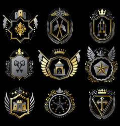 Heraldic decorative emblems made with royal vector