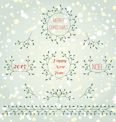 Merry christmas branches set vector image