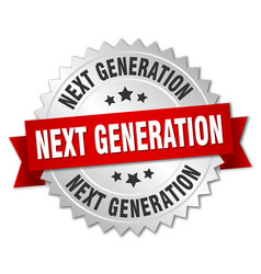 Next generation round isolated silver badge vector