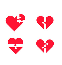 Puzzle heart set vector