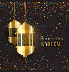 Ramadan background with confetti vector