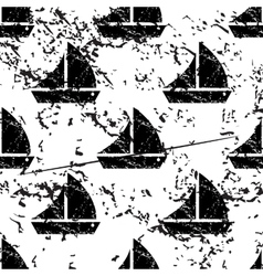 Sailing ship pattern grunge monochrome vector image