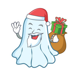 santa with gift cute ghost character cartoon vector image vector image