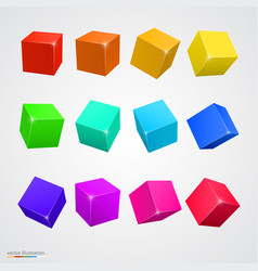 Set colored cubes vector