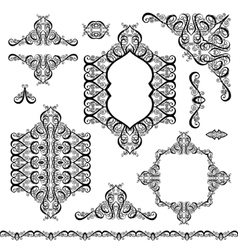 set of black white design elements and page vector image