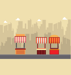 Street stall with building background vector