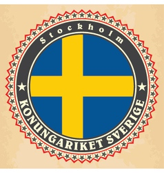 Vintage label cards of sweden flag vector