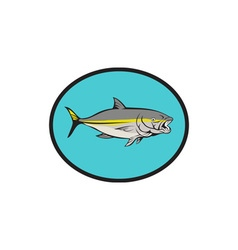 Yellowtail kingfish oval cartoon vector