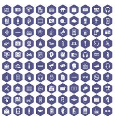 100 audio icons hexagon purple vector