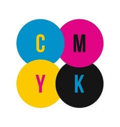 Cmyk color profile icon flat style vector