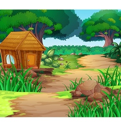 Scene with house in the woods vector image