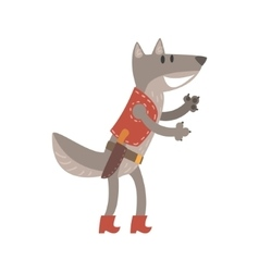 Wolf in leather vest with knife forest animal vector