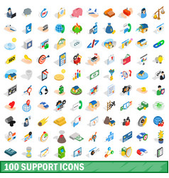 100 support icons set isometric 3d style vector image