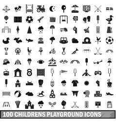 100 childrens playground icons set simple style vector image