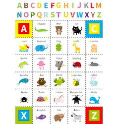 Animal zoo alphabet poster letters with eyes vector