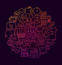 Shopping line icon circle concept vector