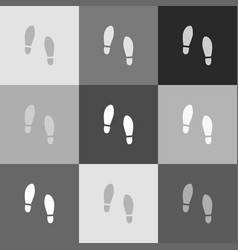 Imprint soles shoes sign  grayscale vector
