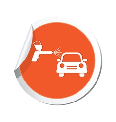 Painting of cars orange label vector