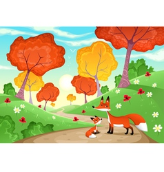 Landscape with family of foxes vector