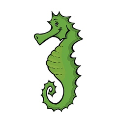 green seahorse vector image
