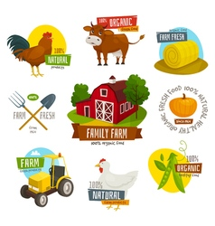 Farm labels set cartoon  farming emblems with vector