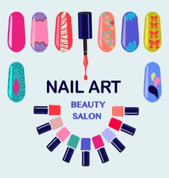 Nail polish bottles nails art beauty salon vector