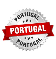 Portugal round silver badge with red ribbon vector