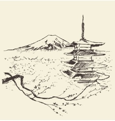 Japan Fuji mountain pagoda and cherry blossoms vector image