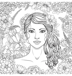 girl flowers outline4 vector image