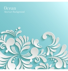 Abstract Ocean Background with 3d Floral Pattern vector image vector image