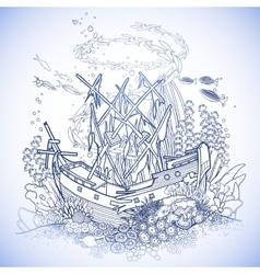 Ancient sunken ship and coral reef vector image