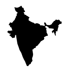 Black silhouette map of India vector image vector image