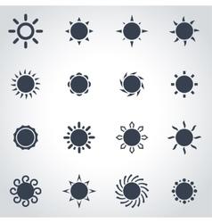 black sun icon set vector image