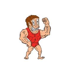 Bodybuilder Flexing Muscles Cartoon vector image vector image
